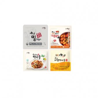 [아딸] 밀떡 300g + 토마토고추장 떡볶이소스 100g + 탕수육 250g + 탕수육소스 100g (업체별도 무료배송)