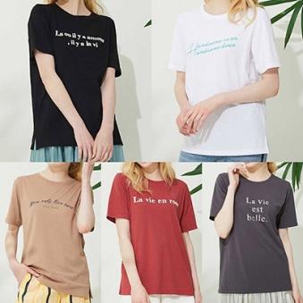 [홈쇼핑상품] [세프린] 레터링 반팔 티셔츠 5종 택1 (업체별도 무료배송)