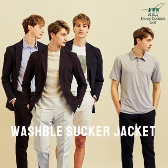 [주말특가] [홈쇼핑상품] [헨리코튼] 남성 워셔블 쿨서커 자켓/티셔츠 2종세트 (업체별도 무료배송)